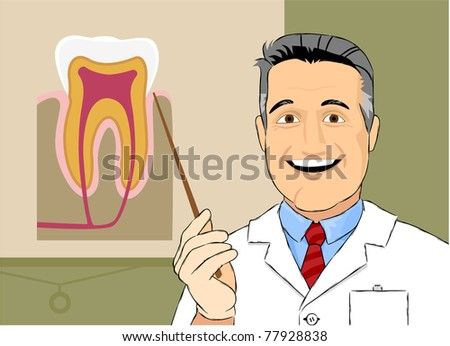 The cartoon smiling dentist. The text field for your company logo is on his badge