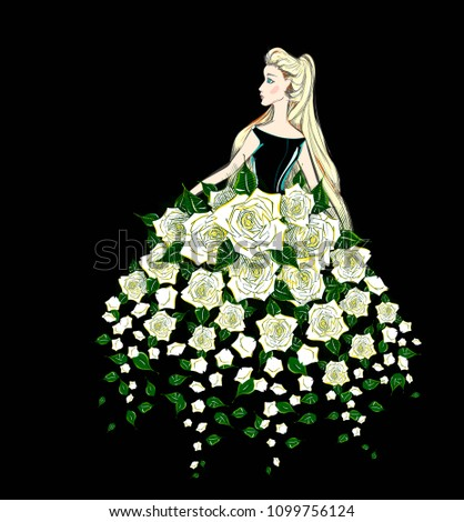 Stock Photo The Cartoon Style Portrait of a Beautiful Woman in an Evening Gown of Flowers. A Nice Blonde Girl in a Fantasy Dress of White Roses. Vector Fashion Illustration. Freehand Drawing. Free Hand Sketch