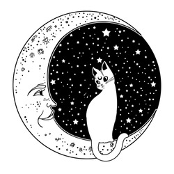 The cat on the Moon. Vector isolated illustration. Ideal Halloween background, tattoo art, spirituality, boho design.