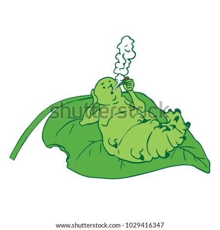 the caterpillar lies on a sheet