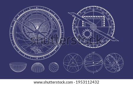 The celestial sphere in isometry. Astrolabe and quadrant. Astronomy and mathematics. Stock photo ©