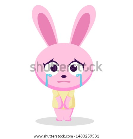 the character of a bunny child with a sad expression illustration