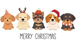 The character of cute dog wear a christmas costume in flat vector style.