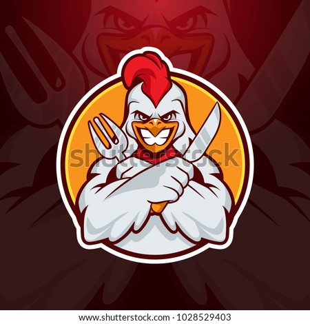 the chicken holding a fork and a knife in his hand mascot logo