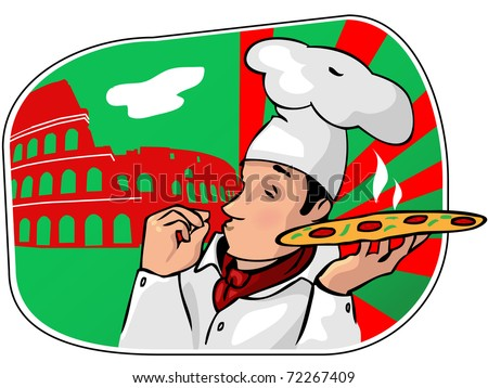 The chief of cooks with a pizza - stock vector