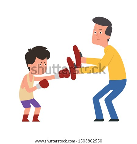 the child is being trained to box with the trainer. boy and trainer work out a punch in boxing paws. isolated illustration on white background
