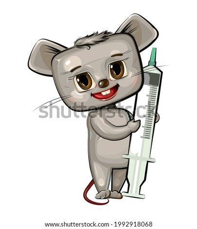 The child is injected with a syringe. Children's medicine. Background cartoon illustration for children. Cheerful animal. Pharmacy pediatrics. Flat design. Vector