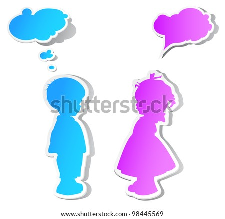The children with color speech bubbles and shadow
