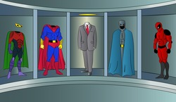 The choice of costume for the hero wins in the business.