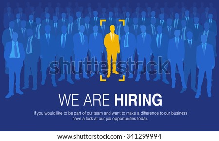 The choice of the best suited employee. Yellow human sign as a symbol of chosen one by the recruiter. HR job seeking concepts.