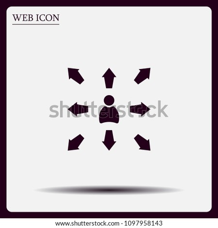 The choice of the way, the solution of the problem, a serious choice. Arrows pointing different directions around a person.Vector icon.