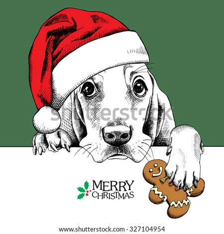 the christmas poster dog basset
