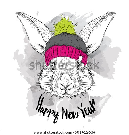 The christmas poster with the image rabbit portrait in winter hat. Vector illustration.