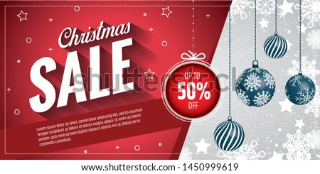 The Christmas sale. Advertising poster for the store. Discounts up to 50 percent. Red banner for website or flyer.