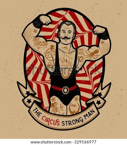 the circus strong man. vector...