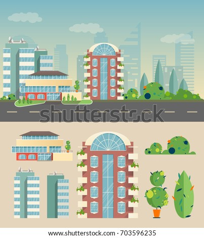 the city is a flat style a set of houses, the bushes with the background in the form of a silhouette of the city