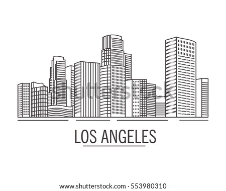 The city landscape drawn with lines los angeles on a white background.Down town American landscape with skyscrapers and high-rise buildings in flat style a vector.hand drawn