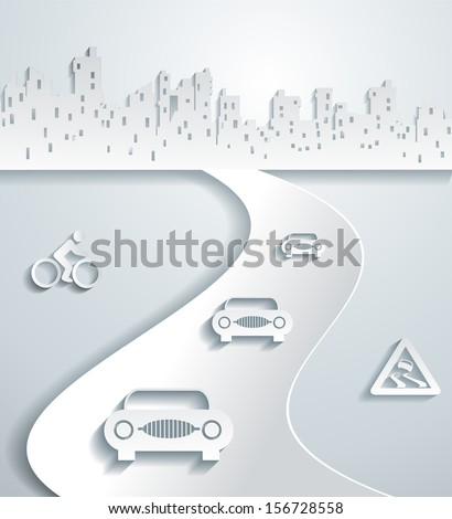 The city's skyline with road and cars