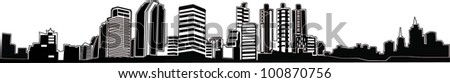 The city's skyscrapers, vector silhouette.