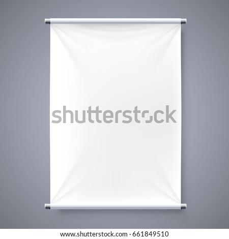 The cloth banner signboard isolated background. Vector illustration