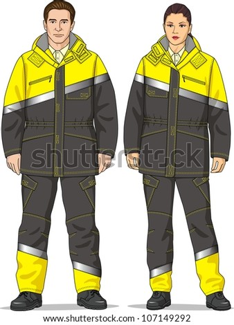 The clothes for men and women consist of a jacket and trousers - stock vector