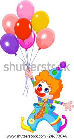 The clown fly with balloons. Vector illustration