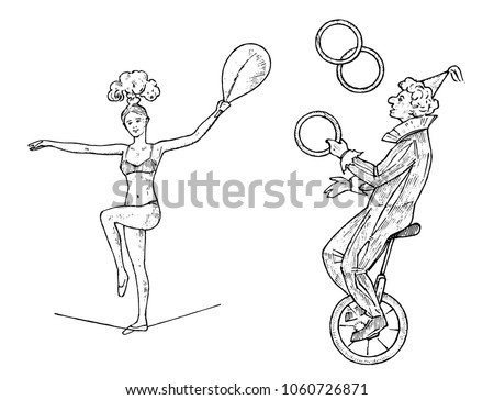 the clown on the wheel juggles...