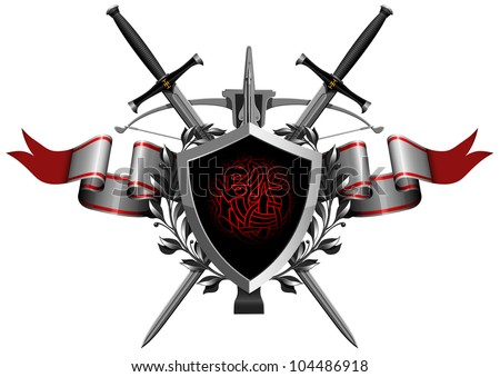 the coat of arms with weapons