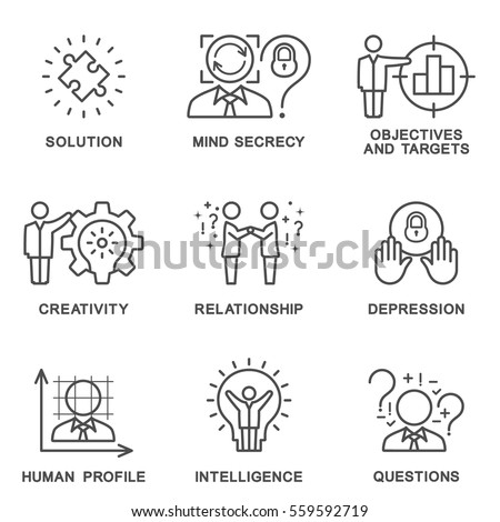 The collection icons human personality psychology. Mental abilities, behavior. Vector illustration concept. The thin contour line. Flat design web graphics elements. Stockfoto ©