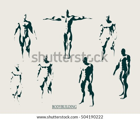 stock-vector-the-collection-of-body-building-silhouette-bodybuilder-posing