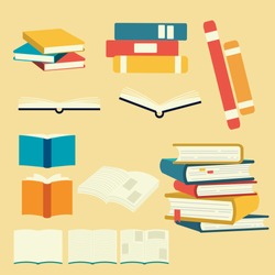 The Collection of book , pile of book in flat vector style. Graphic resource about education for graphic,content.