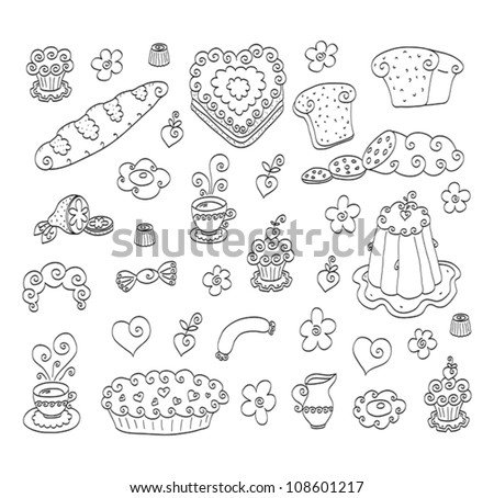 The collection of different doodle drawn elements: food, flowers and heart shapes.