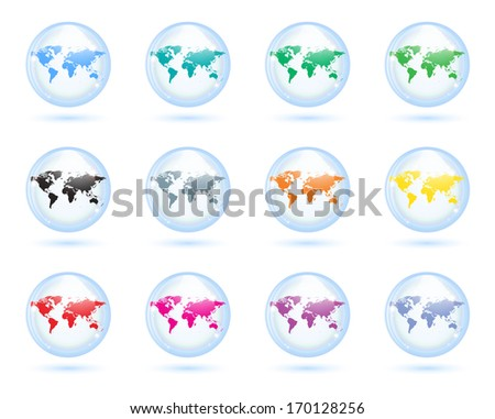 The collection of different glass earth globes.