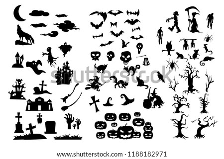 The Collection of halloween silhouettes icons and characters, Shape of halloween character ready made for use. EPS10 Vector. - Shutterstock ID 1188182971