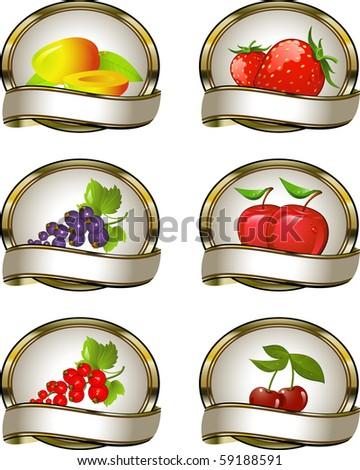 The collection of labels for fruit products: mango, strawberry, black currant, red currant, apple, cherry.