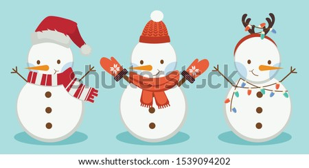 The collection of snowman wear a winter theme. Graphic resource about winter and christmas for content , banner, sticker label and greeting card.