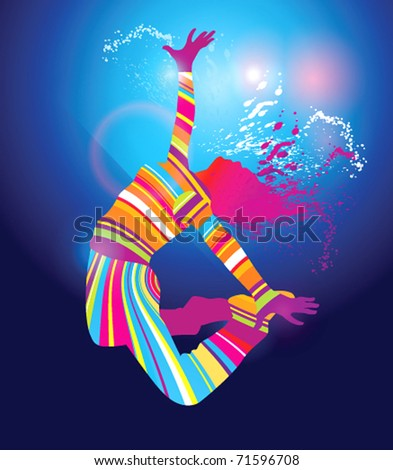 The colorful dancing girl floodlighting with spots and spray on blue background. Vector illustration.