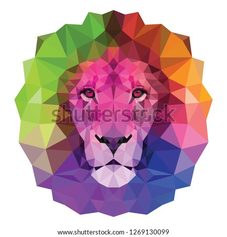 The colorful  muzzle lion vector illustration with high-detailed eyes, consisting of triangles. Low poly design