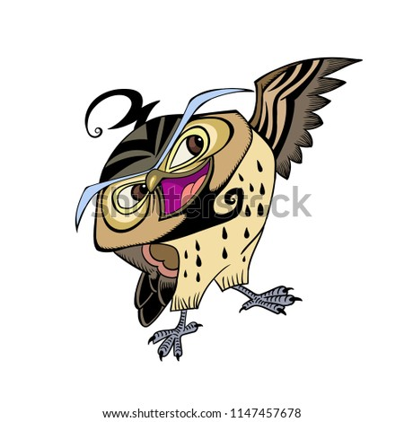 The colorful owl. Hand drawn illustration,For books illustration, animals illustration,background,clip arts, decoration.