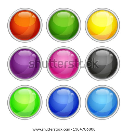 The colorfull shiny button with metallic elements, vector illustrstion.
