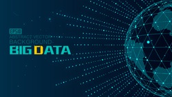 The combination of radiation and dotted line is the background of big data technology vector, which implies globalization, internationalization and scientific and technological concept