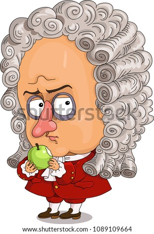 The comic caricature.  A funny portrait of the English physicist Isaac Newton.  Isolated objects.
