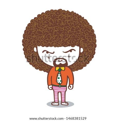The comic caricature. cartoon funny portrait men have mustaches.
