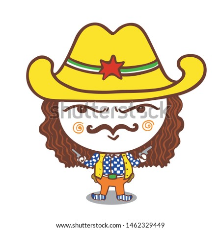 The comic caricature. funny portrait cowboy cartoon. Isolated objects.