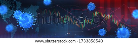 The coming crisis due to Covid-19 and the collapse of the markets, Shares fall down, Economy fallout. The impact of coronavirus on the stock exchange and the global economy. World economy. Vector
