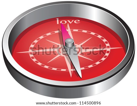 The compass indicates the direction of love. Vector illustration.