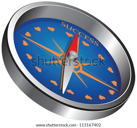 The compass marked success. Creative vector illustration.