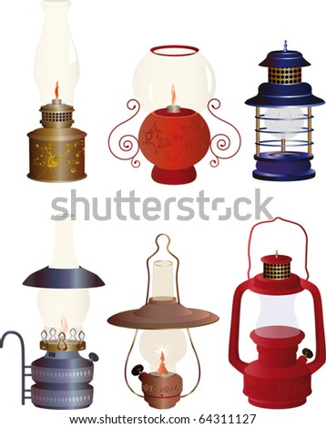The complete set of old oil lamps
