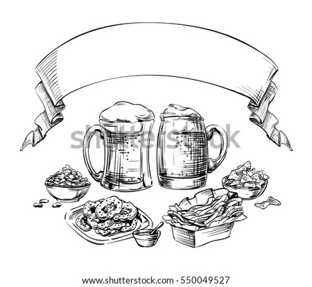 The composition of drinks and snacks top with ribbon and blank place for inscription. Food and beer in a glass, mug, cup and jar. Sketch for Oktoberfest or menu the restaurant, pub, snack bar, Vector