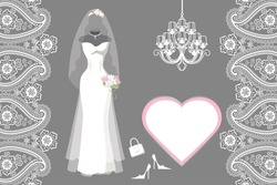 The composition of female's wedding long dress,Bridal veil,handbags ,high-heeled shoes,chandelier,label,paisley border. Bridal shower.Fashion vector Illustration
